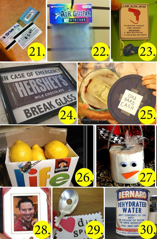 50 Hilarious and Creative White Elephant Gift Ideas! hahahahahahahah I am going to do this!