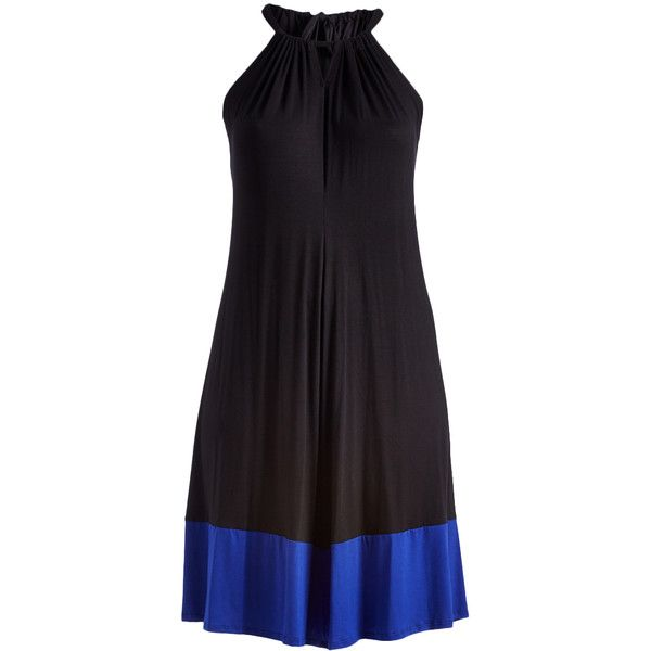 GLAM Black & Light Blue Color Block Pleated Sleeveless Dress ($28) ❤ liked on Polyvore featuring plus size women's fashion, plus size clothing, plus size dresses, plus size, plus size long dresses, color block dress, light blue long dress, neck ties and light blue dress