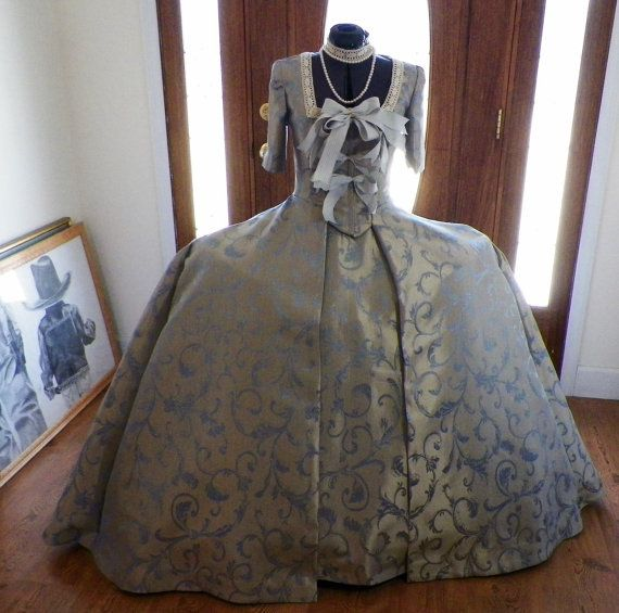 Dr Who Madame Pompadour Marie Antoinette French Colonial Watteau Sacque Panniers Reenact Fireside Movie Dress Gown Costume made to your size