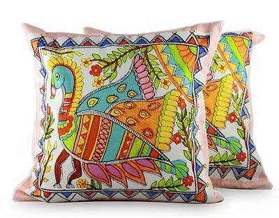 Madhubani Peacock cushion