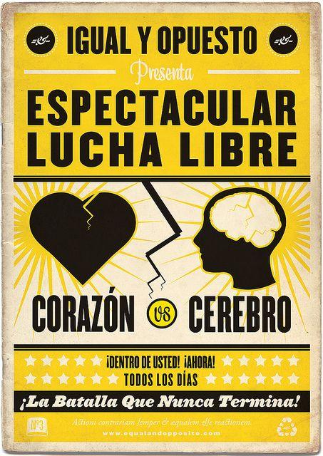 Corazón vs Cerebro Lucha Libre Poster