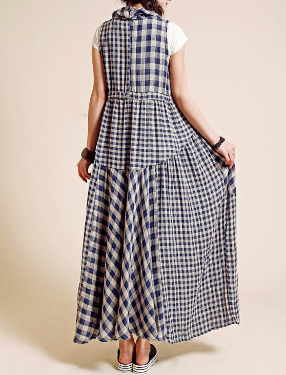 Plaid Sleeveless Long dress/ Pile collar Big swing by MaLieb