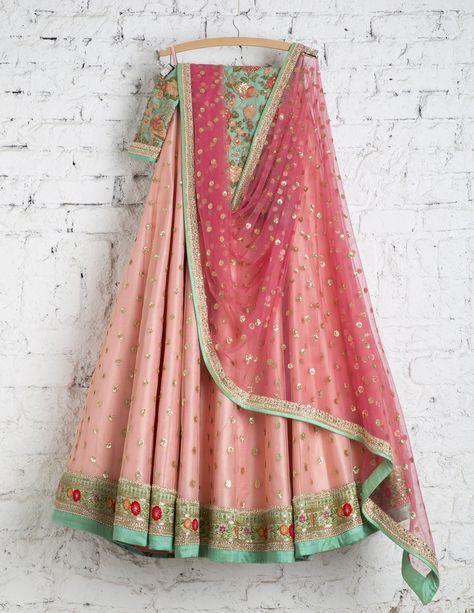 SwatiManish Lehengas SMF LEH 147 17 Pink bow lehenga with rose pink dupatta and threadwork blouse