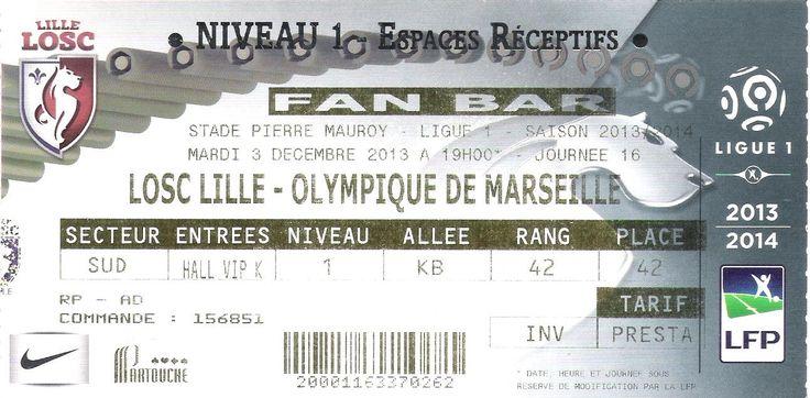 Pin by Collection de billets de l\u0027OM on Billets de Ligue 1 Pinterest - porte d entree tarif
