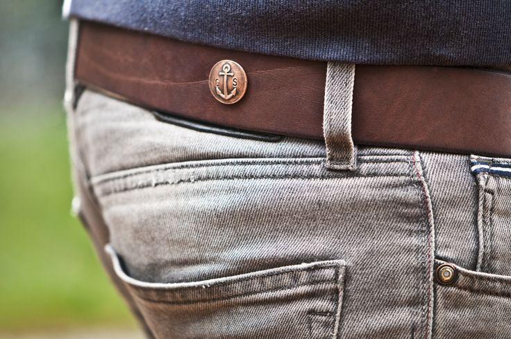 www.877workshop.com — Men's Navy belt brown leather with bronze buckle