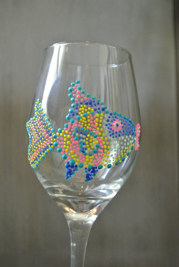 Hand Painted Wine Glasses  Super FUN Fish glass beach wine glass  by SteeleMagnoliaDesign, $15.00