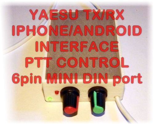 Compatible with Yaesu FT-100, FT-817, FT-857, FT-897, FT-450, FT-950, FT-991, FT-1500, FT-3000, FT-7100, FT-7800, FT-7900, FT-8000, FT-8100, FT-8500, FT-8800, FT-8900, FT-DX1200, FT-DX3000 and variations of these models (transceivers not included) and all other radios with mini din 6 pins input/output data port.  This interface allows your IPhone, IPad, IPod & Android devices (phone or tablet) to decode/encode Digital mode signals using free (or paid) software.