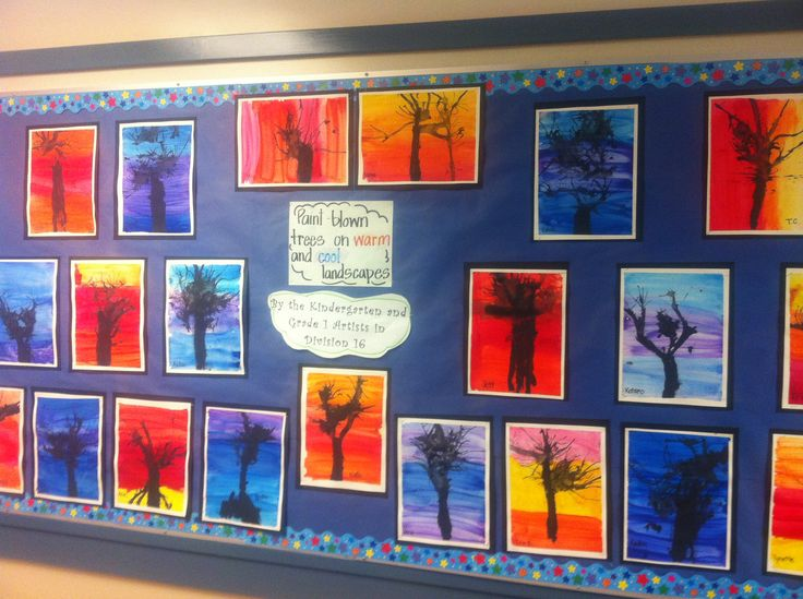 Paint blown trees with warm and cold landscapes.. Kindergarten and grade 1s. After learning about weather and seasonal changes and sorting warm and cold weather activities!