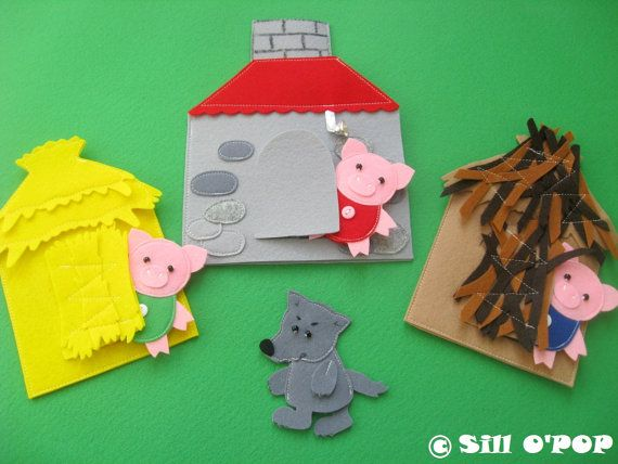 """The Three Little Pigs"" is one of the most fascinating kids fairy tales. Babies enjoy the story and they'll surely love felt finger puppets and houses"