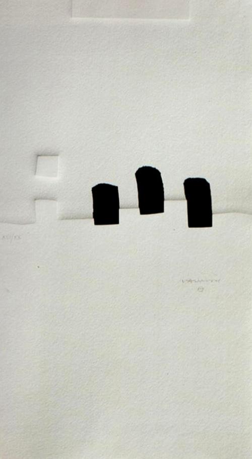 Eduardo Chillida Oro, Plata, Broce Serigrafía 1993 Tirada de 100 ejemplares. Numerados y firmados. 80 x 44 cm
