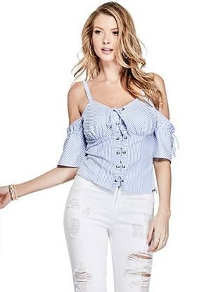7444902928a3 Kate Open-Shoulder Lace-Up Shirt