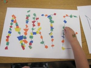 PreK~k~adaptive~maybe try with dot paint: Kindergarten Fine Motors, Learning To Writing Names, Dots Paintings, All Day Kindergarten, Paper Scrap, Teaching Preschool, Covers Letters, Names Art, Recognition Ideas