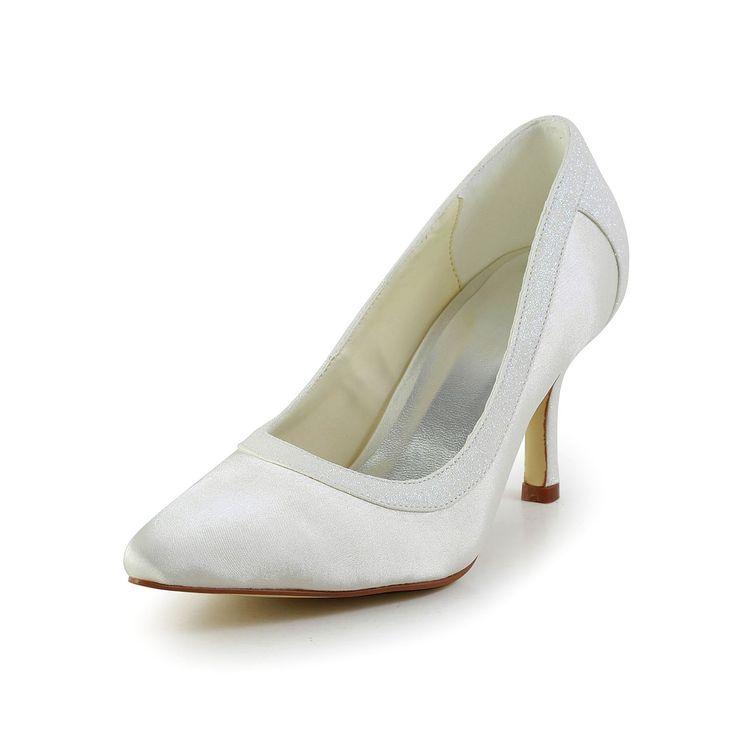 Women's Simple Satin Stiletto Heel Closed Toe Wedding Shoes