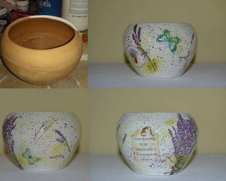 Flower pot decorated with decoupage - Lavender