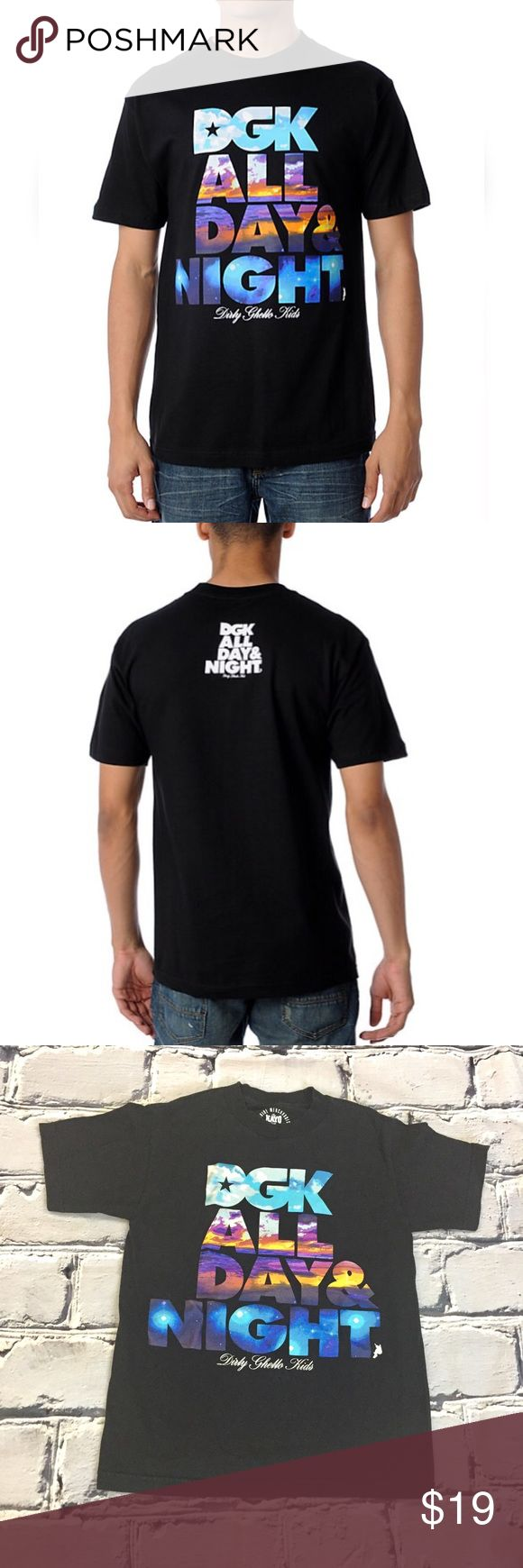 DGK All Day All Night Short Sleeve T Size Small Sunrise to sunset,  you'll be lookin fly in the Dirty Ghetto Kids Day and Night t-shirt.  100% cotton.  Tagless. DGK Shirts Tees - Short Sleeve