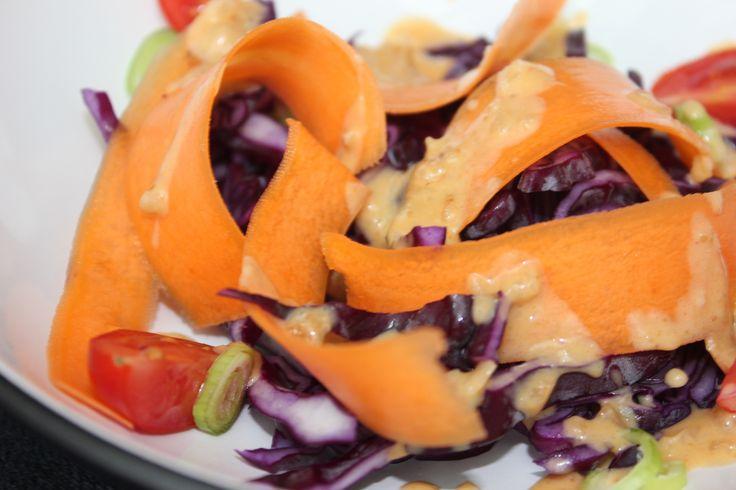 Peanut sauce with crunchy salad
