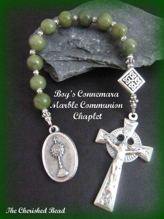 Irish Boy's First Communion Connemara Marble by TheCherishedBead, $35.00