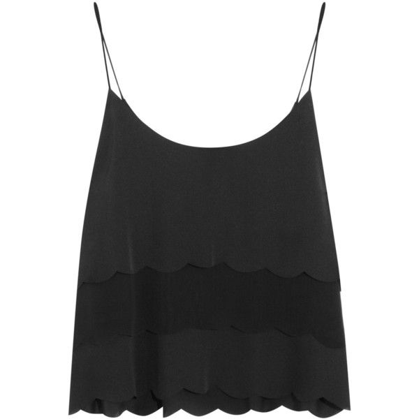 Kate Moss for Topshop Scalloped satin and chiffon camisole found on Polyvore