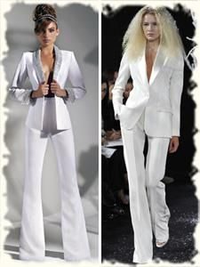 Белый женский костюм свадебный