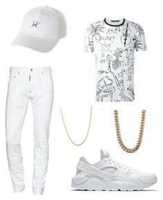 """""""Whiteout"""" by killakeke on Polyvore featuring Dsquared2, NIKE, HUF, Dolce&Gabbana, Palm Beach Jewelry, men's fashion and menswear"""
