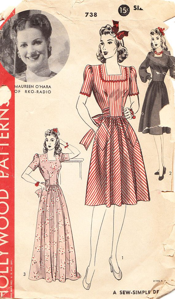 1940s Misses' Day Dress with Square Neckline  by daisyepochvintage, $10.00