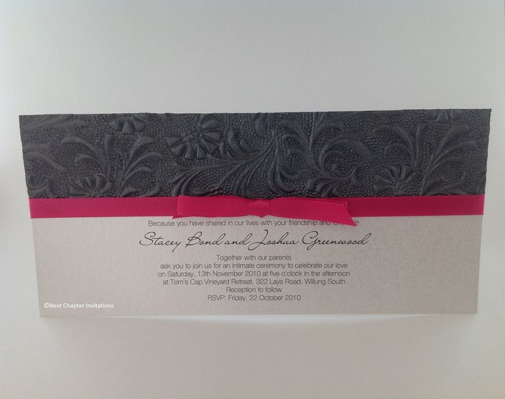 TUSCANNY MIDNIGHT - printed on white frosted card and decorated with a stunning embossed midnight pearl paper and fuschia bow. PRICE: $3.95 https://www.facebook.com/NextChapterWeddingInvitations