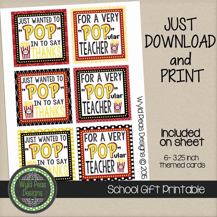 PRINTABLE Back to School, Popcorn, Printable PDF, jpeg, 8 ...
