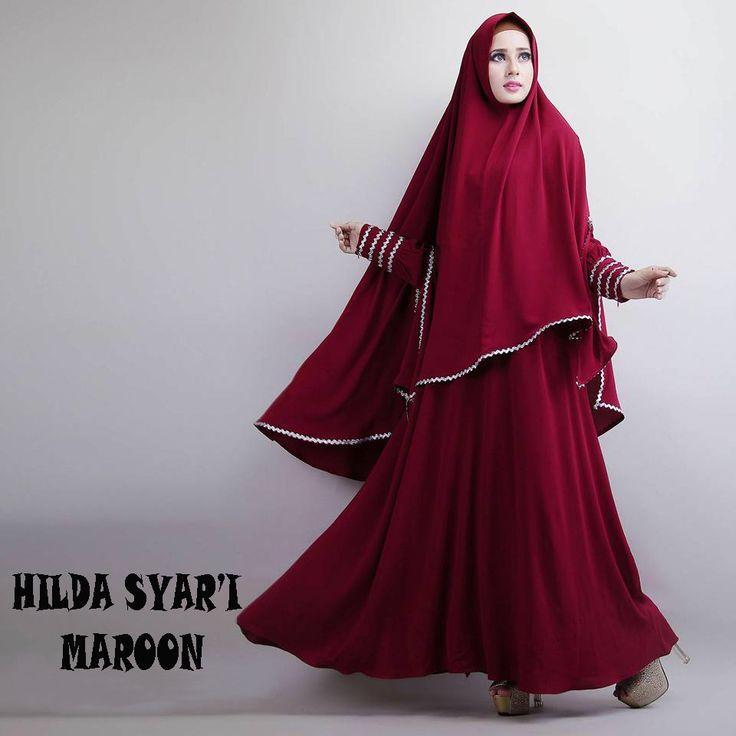 Gamis Syar'i Modern HILDA MAROON - http://warongmuslim.com/gamis-syari/gamis-syari-modern-hilda-maroon/