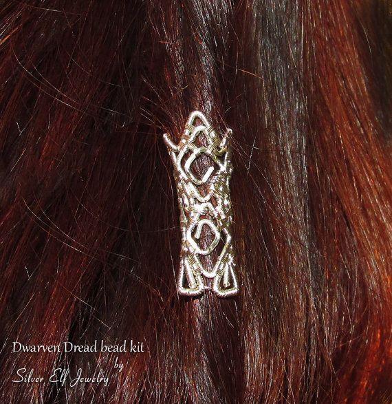 Dwarven dread bead kit, Dwarf beard bead, LOTR jewelry, Hobbit jewelry, Dwarven Hair accessories, Cosplay jewelry