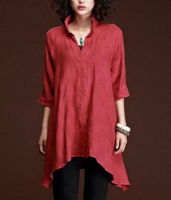 Irregular Hem Loose Style Linen Tunic Custom-Made Fast Shipping