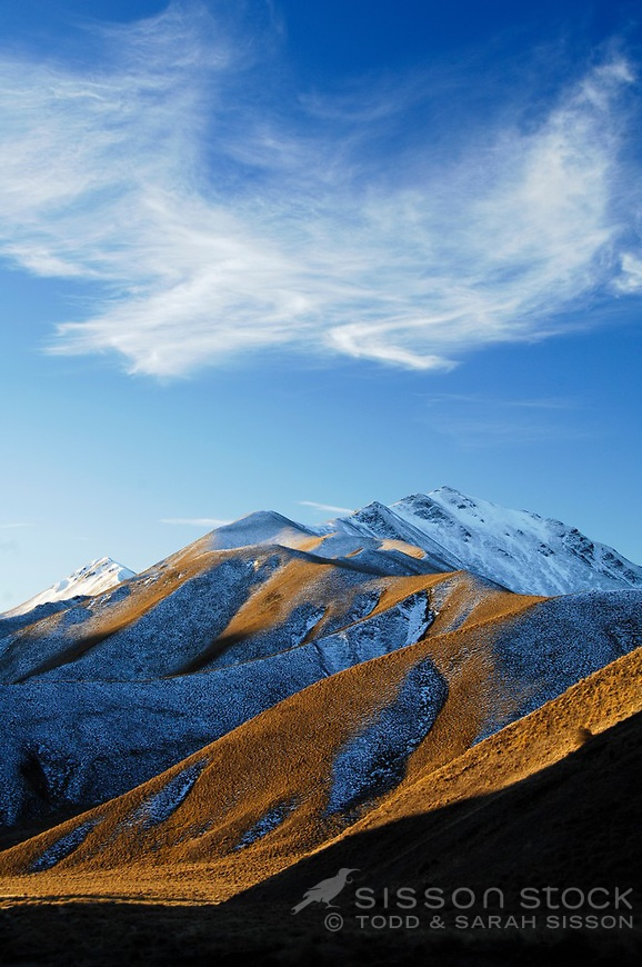 Late afternoon light on the hills of the Lindis Pass, Central Otago, South Island