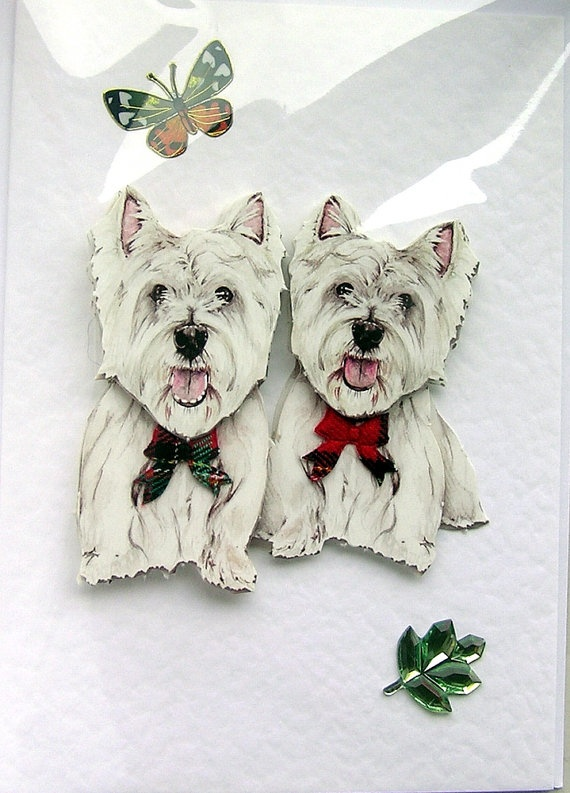 Card Making Ideas Uk Part - 21: Westie Shepherd HandCrafted Decoupage Card By SunnyCollectables, Pets