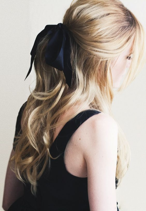 """nice Party hair details , Shiny, sparkly chic hair accessories for the Holiday """"easy"""" to do hairstyles.  One of my favorites is adding a velvet ribbon to a low ponytail... Ho... ,  #easyhairstyles #easytodohair #eleganthairstyles"""