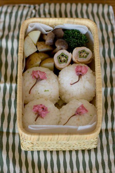 Sakura Onigiri Rice Balls Bento Lunch by chica|桜のおにぎり弁当