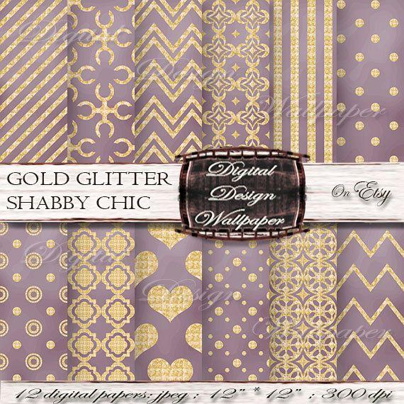 Gold and Purple Glitter Digital Paper for digital scrapbook lovers,Glitter Dots,Glitter Chevron,Gold Glitter Hearts, Quatrefoil Paper,Sparkle Paper by DigitalDesignPaper. Explore more products on: www.etsy.com/...