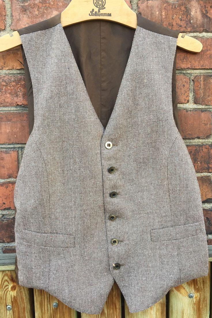 tweed/herringbone/men's/lined/vest/original buttons by WifinpoofVintage on Etsy