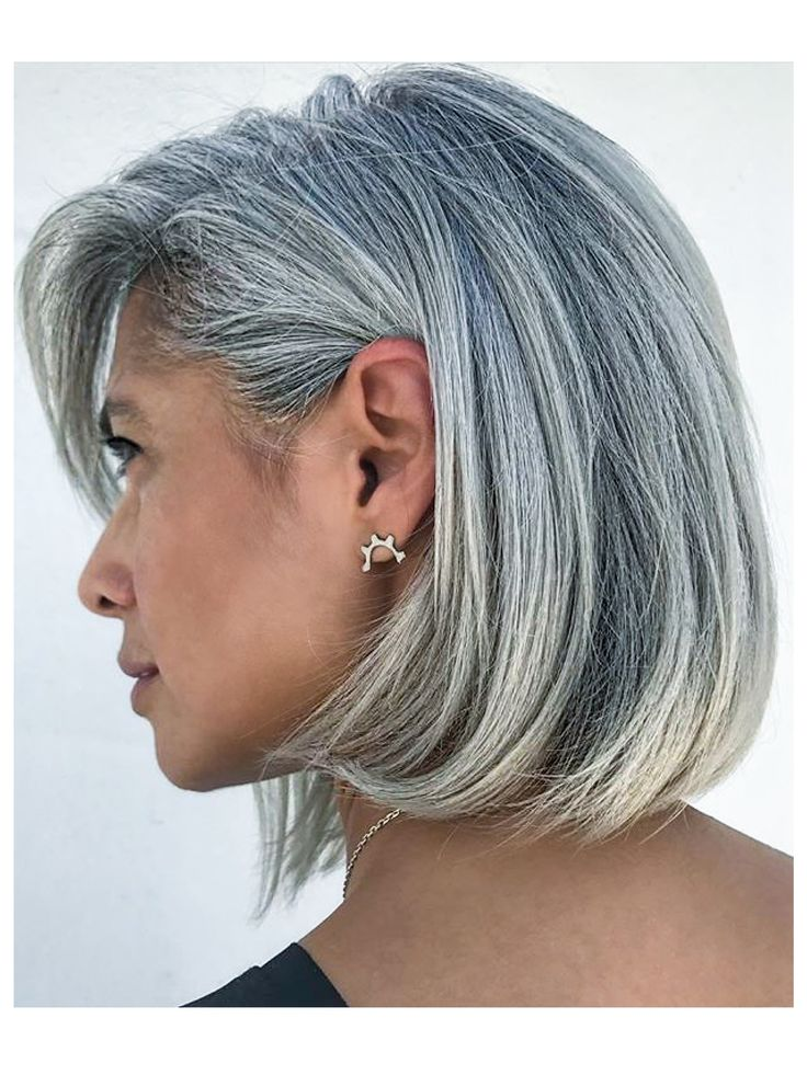 Silver long bob