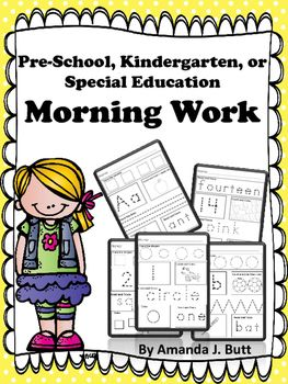 Morning Work for Preschool; Kindergarten; Special Education; Autism; letters; numbers; counting; tracing lines, curves, letters, words, numbers, shapes; special needs;