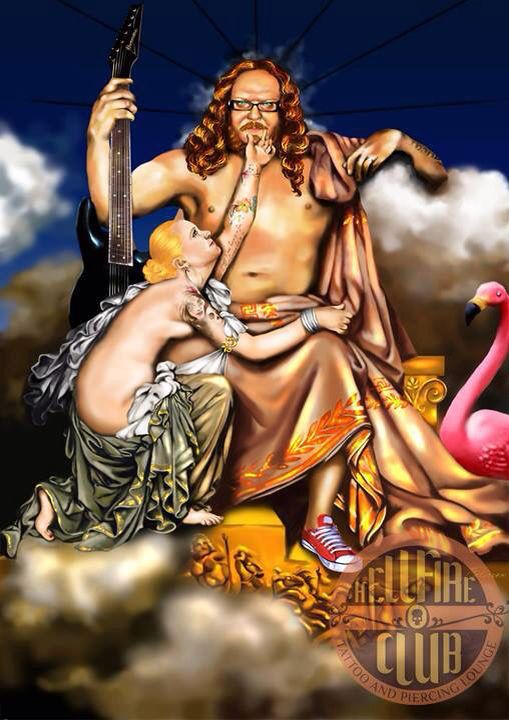 Zeus and Thetis - Digital Painting by Di Paterson (2012) , Illustration, Flamingo,After Ingres, Converse, Tattoos Ibanez 7-String, The Hellfire Club, The Artful Fox www.facebook.com/Artfulfox1