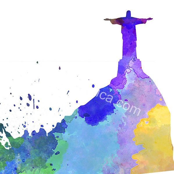 Rio De Janeiro Skyline In Watercolor by Pablo Romero