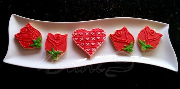 valentine rose cookies