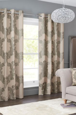 Buy Cotton Rich Damask Print Eyelet Curtains From The Next UK Online Shop