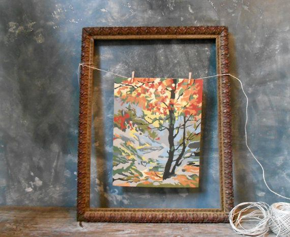 Vintage Paint By Number Fall Woodsy Scene: Autumn Scene Paint By Number - Scene 2