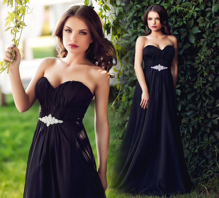Long evening dress made from black silk veil, with precious application at the waist.