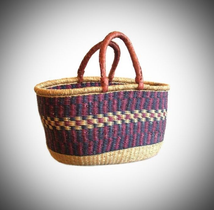 One of our most loved items!    Our baskets are hand-woven from the elephant grass which grows in the rich flood plains of the White Volta near Bolgatanga, Northern Ghana    Shape to your preference by submerging in water for a few minutes to soak the elephant grass and make it malleable. Then simply adjust with your hands to the shape you desire. The durable leather handles can be kept in premium condition by applying a little clear boot polish or leather conditioner from time to time…
