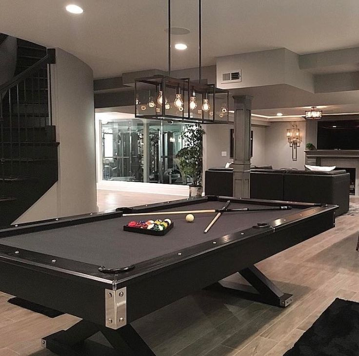 Great entertaining space. Love the RICH COLORS & a beautiful pool table.