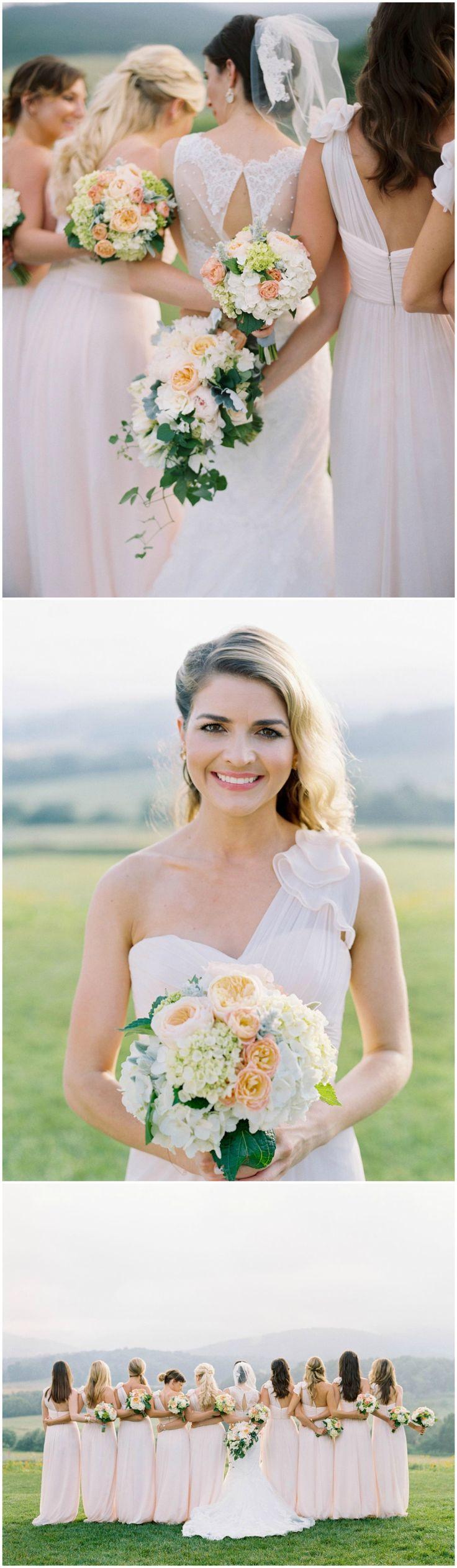 Pastel pink bridesmaid dresses, one-shoulder gowns, soft peach floral wedding bouquets, classic Virginia wedding // Elisa Bricker