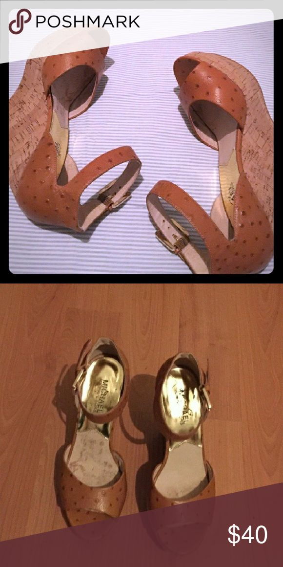 "Michael Kors Ostrich sandals wedges 5"" cork heel Leather ostrich wedges, sandals with 5 inch heel.  In great shape! Super cute neutral color leather.  Goes great with jeans, shorts,  long summer dress or even night out dress.  Very flattering and sexy. Michael Kors Shoes Sandals"