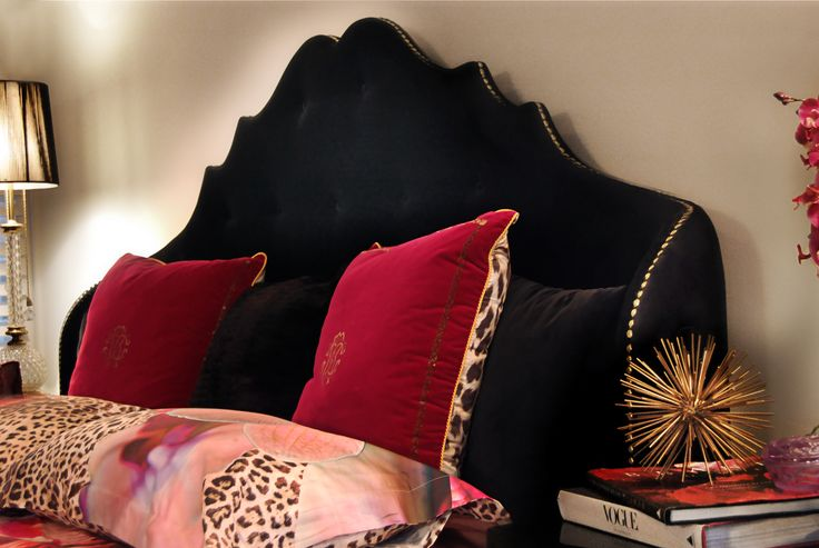 ALEXIA by @koket, fully upholstered velvet headboard's sensuous curls luxury bedding.