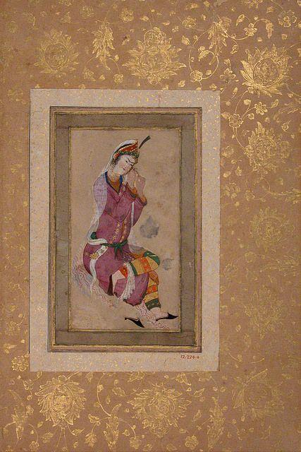 بانو در حال بافتن گیسوانش، اواخر 16 و اوایل قرن 17 میلادی Seated Woman Object Name: Illustrated album leaf or single work Date: late 16th–early 17th century Geography: Iran Culture: Iran Medium: Ink, opaque watercolor, and gold on paper Dimensions: H. 6 5/8 in. (16.8 cm) W. 3 in. (7.6 cm)